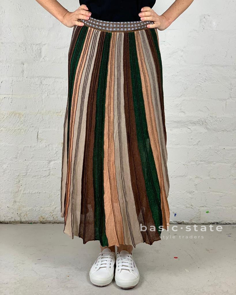 Running w Scissors Pleated Lurex Maxi Skirt - Chocolate Multi - Striped Pleated Long Skirt Basic State