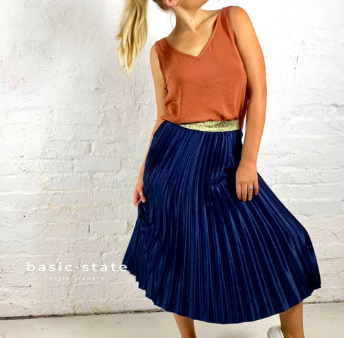 Pleated Skirt Running with Scissors Pleated Navy Blue Skirt - Basic State