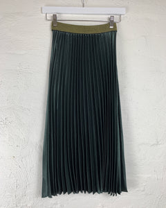 Buy Pleated Midi Skirt Pleated Skirt in Olive Green Running w Scissors Pleated Skirt Basic State