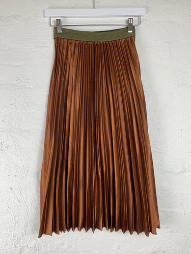 Pleated Skirt Pleated Midi Skirt Running w Scissors Rust Pleated Skirt - Basic State