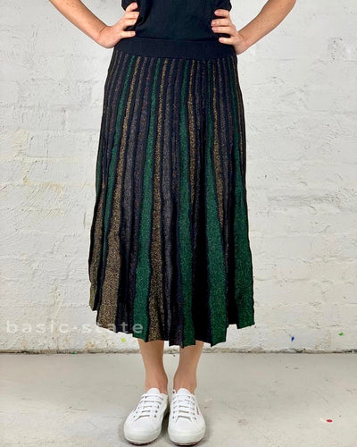 Running w Scissors - Green and Black Skirt - Striped Metallic Crochet-Knit Maxi Skirt - Shimmering Maxi skirt - Basic State
