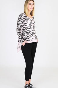 3rd Story the label Zebra Blush Sat & Sun Pink Animal Print Top - Basic State