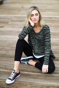 3rd Story Limited Edition Sat + Sun Zebra Long Sleeve Top - Khaki Zebra - Basic State