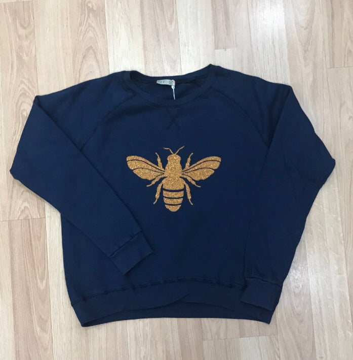 Save the Bees Gold Bee Glitter Bee jumper Gold Glitter Bee Sweat Basic State Style Traders