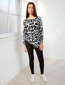 Leopard print Cartel and Willow Basic State Ava Asymmetrical Top