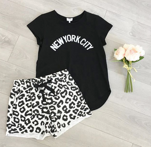 Dina Leopard Print Shorts New York City Tee Basic State