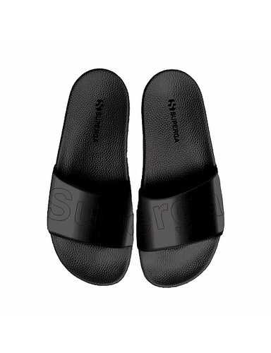 Superga Satin Slides Superga Black Satin Slides Basic State