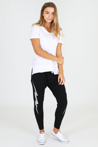 Sat + Sun Drop Crotch Bondi Lightning Joggers || Black