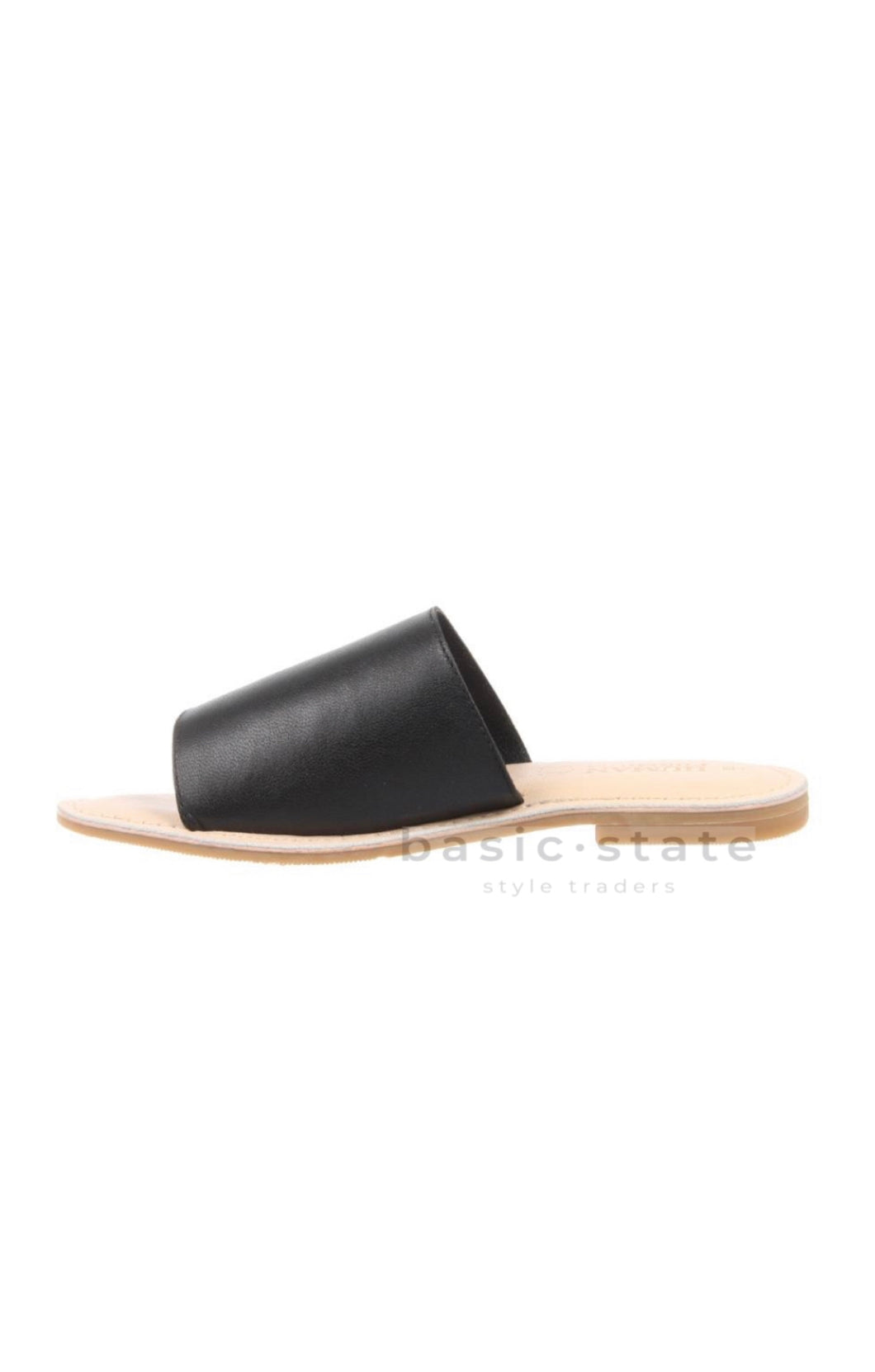 Trinity Slides Black Leather Shoes - Ladies Super soft leather Slides Leather Sandals Leather Slides Black leather shoes - Basic State