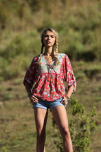 Tulle & Batiste Miriam Boho Blouse Bohemian Top Rococco Red - Basic State