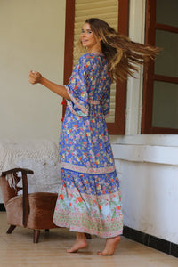 Tulle & Batiste Pishon Kimono Dress Blue - Lapis Luzuli - Boho Dress Bohemian Dress - Basic State
