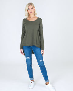 3RD STORY WILLOW LONG SLEEVE TEE TSHIRT khaki Plus Size Tee BASIC STATE