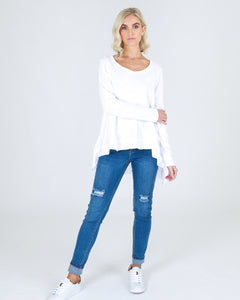 3RD STORY WILLOW LONG SLEEVE TEE TSHIRT white BASIC STATE Size 20