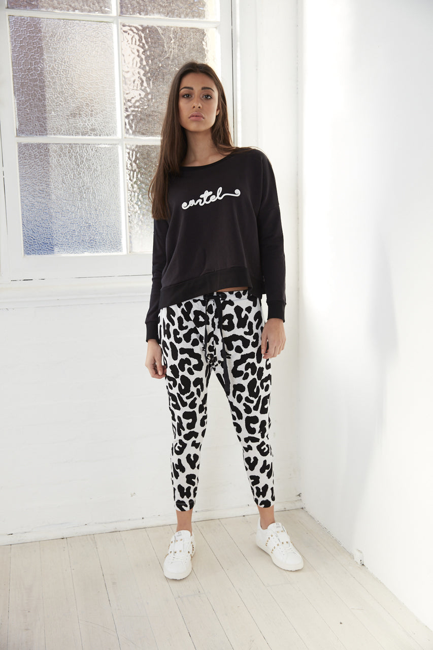 Leopard Print Pants Drop Crotch Pants Slouch Pants Basic State Cartel & Willow