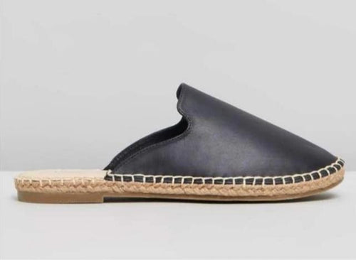 Riley Black Leather Slides Riley Black Leather Mules Basic State