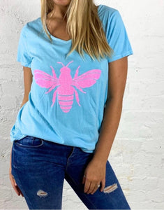 Save the Bees Bee Tshirt Bee Tee Save the Bees Australia Basic State Glitter Bee Tee
