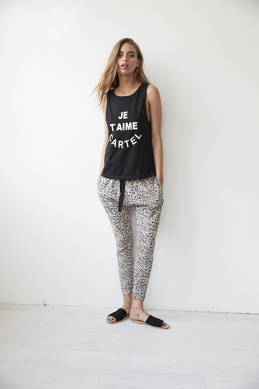 Je T'aime Tank Cartel and willow Leopard print pants cartel leopard drop crotch pants basic state