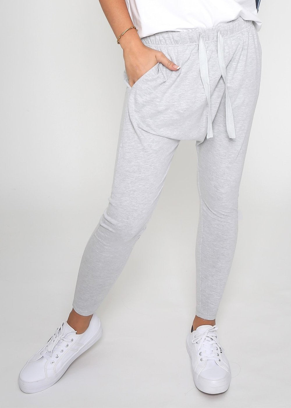 Lainie Lounge Pants Lainie Drop Crotch Pants Grey Marle - Basic State
