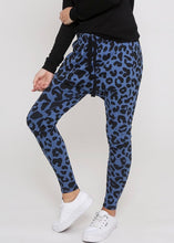 Lainie Blue Leopard Lounge Pants Indigo Leopard Slouch Pants Drop crotch pants - Basic State