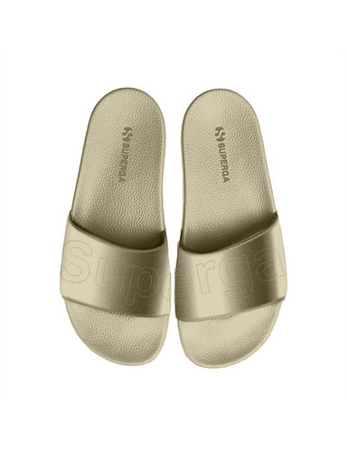superga satin Slides australia Beige Gold Basic State