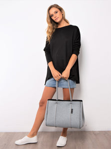 Neoprene Bag, Neoprene Tote Grey - Basic State