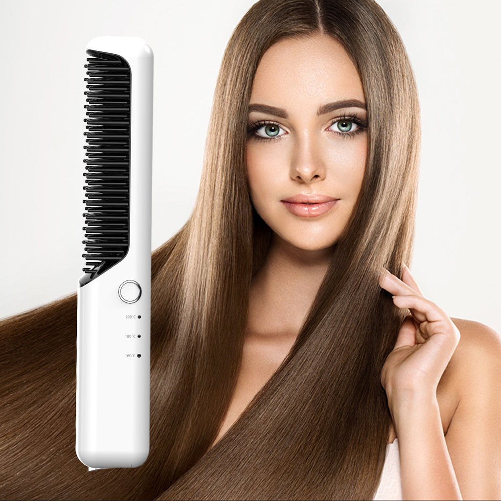 Leyoung Cordless Hair Straightener Brush Travel Hot Air Brush