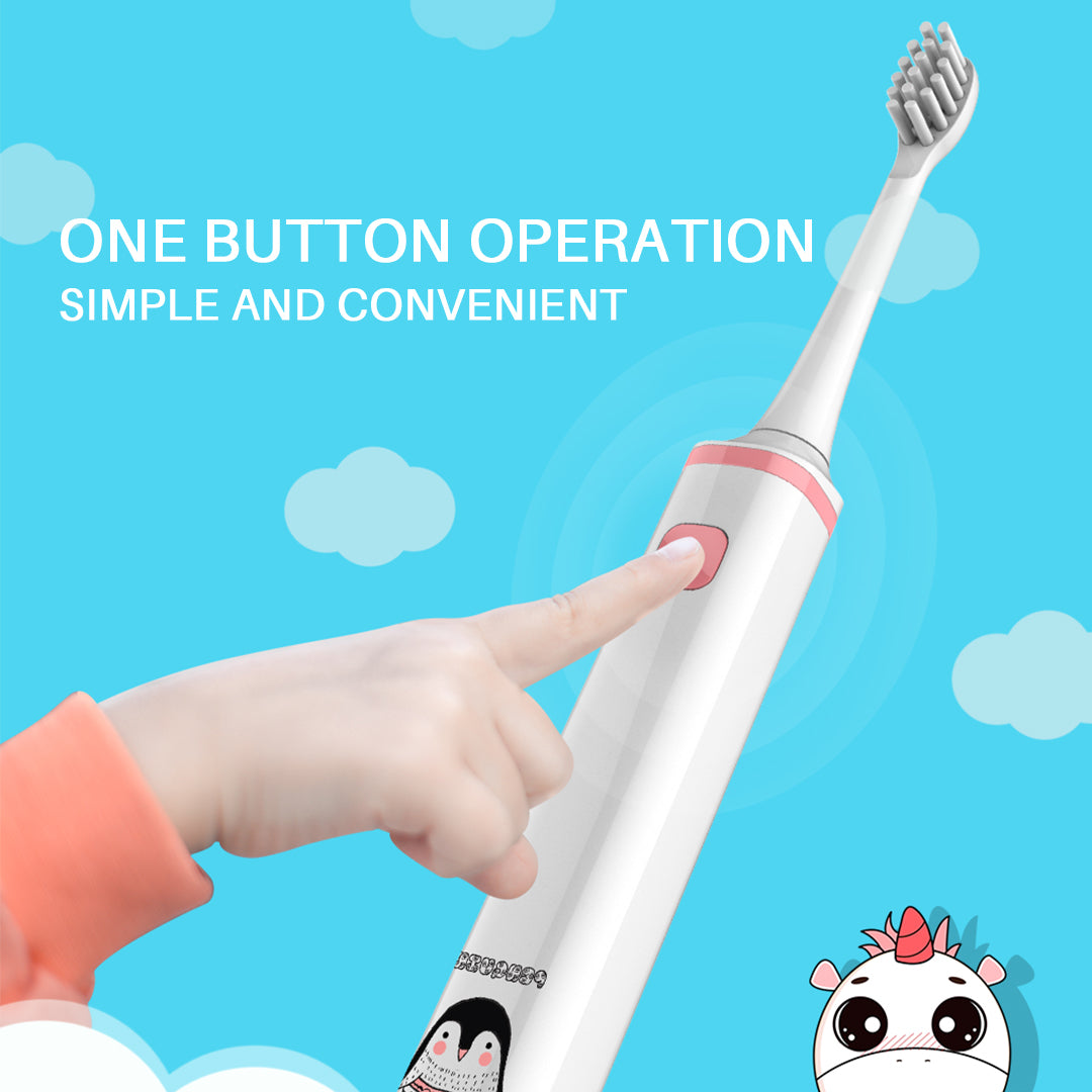 Leyoung Kids Electric Toothbrush, Vibrating Toothbrush for Children Boys and Girls Age 3-13, with Smart Timer in White