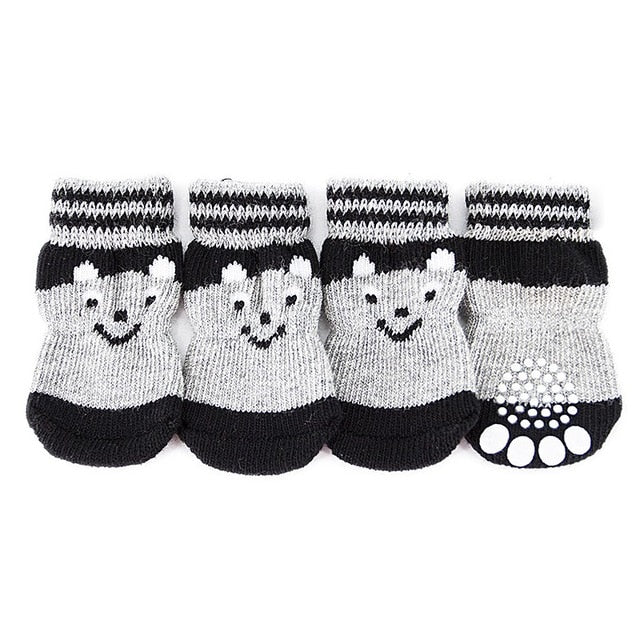 4pcs/set Small Dog Cat Shoes knitting Socks Spring Autumn Winter Pet Boots Outdoor Warm Non-Slip Shoes For dogs