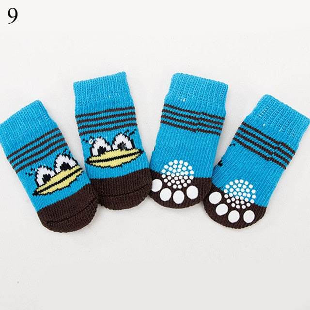 4Pcs Warm Puppy Dog Shoes Soft Pet Knits Socks Cute Cartoon Anti Slip Skid Socks For Small Dogs Breathable Pet Products S/M/L