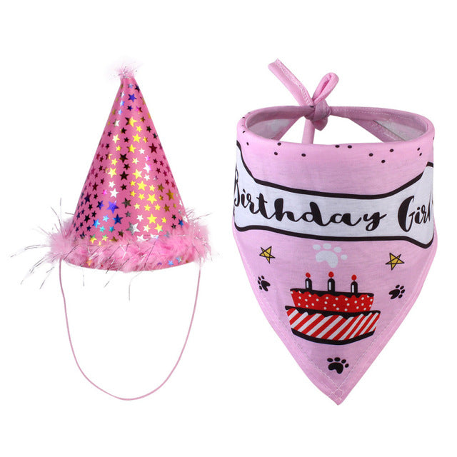 High Quality Sequined Pet Birthday Hat with Bib Cat Dog Party Hat and Bib Birthday Outfit Decoration Pet Accessories Dropship