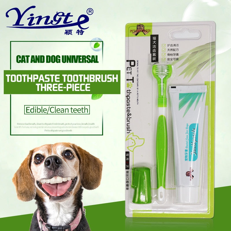 3-Sided Toothbrush for Dogs Dental Care for Dogs for Bad Breath Pet Toothbrush Set Toothpaste Dog Cat Finger Tooth Brush