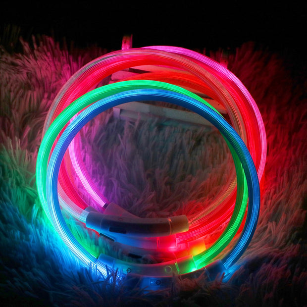 Led Usb Dog Collar  Pet Dog Collar  Night Dog Collars Glowing Luminous Rechargeable LED  Night Safety Flashing Glow
