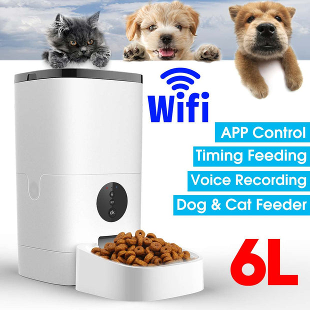 6L Large Capacity Pet Automatic Feeder Smart Voice Recorder APP Control Timer Feeding Cat Dog Food Dispenser WiFi/Button Version