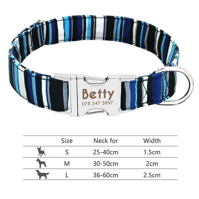 Nylon Dog Collar Personalized Pet Collar Engraved ID Tag Nameplate Reflective for Small Medium Large Dogs Pitbull Pug