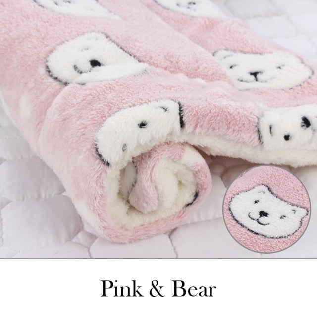 Soft Flannel Thickened Pet Soft Fleece Pad Pet Blanket Bed Mat For Puppy Dog Cat Sofa Cushion Home Rug Keep Warm Sleeping Cover