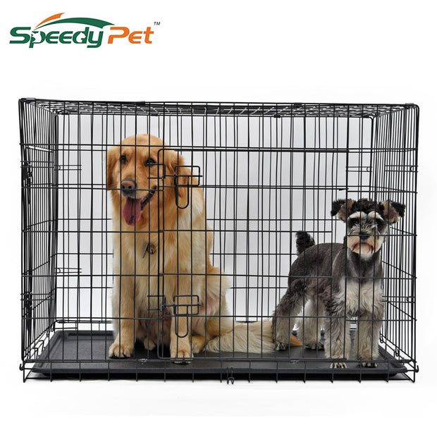 wholesale Domestic Delivery Pet Dog Cage Crate Double-Door Pet Kennel Collapsible Easy Install Fit Your Pets Pet House Dog Cage