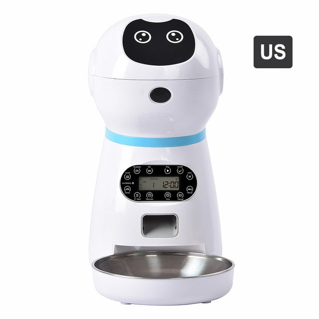 Automatic Pet Feeders US/UK/EU Plug With Voice Record Stainless Steel Dog Food Bowl Auto Cat LCD Screen Timer Food Dispenser