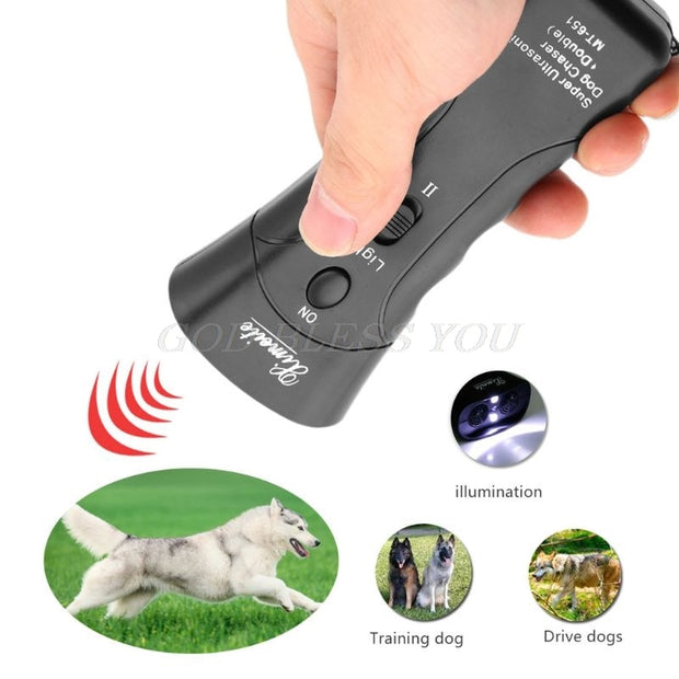 New Ultrasonic Dog Chaser Stop Aggressive Animal Attacks Repeller Flashlight Drop Shipping