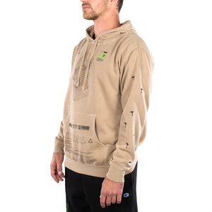 FACIAL RECOGNITION HOODED SWEATSHIRT (SANDSTONE)