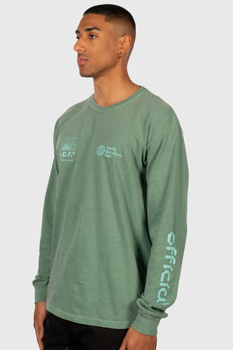 OFFICIAL REALITY DISTORTION FIELD LONGSLEEVE SHIRT (SAGE GREEN)
