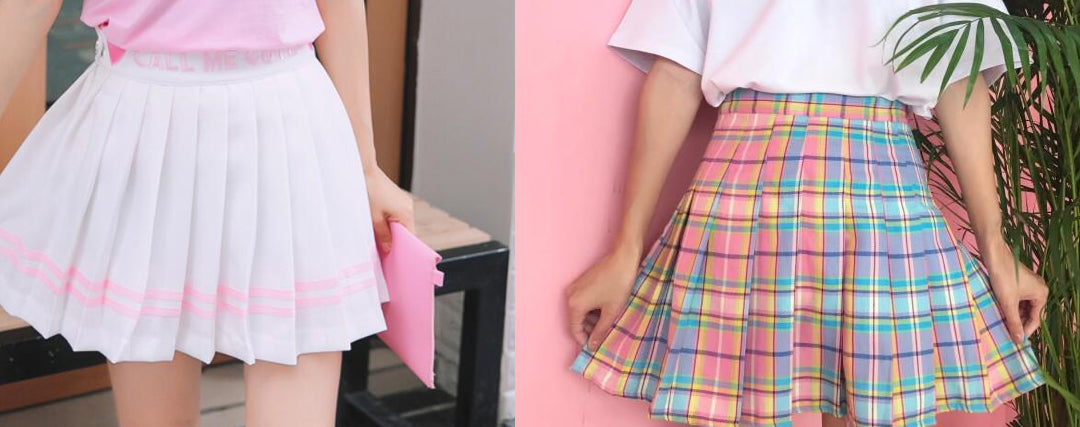 simple kawaii outfit Pleated Skirts