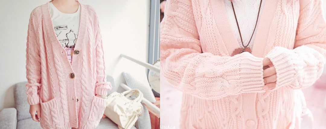 simple kawaii outfit Oversized Knitted Sweaters and Cardigans