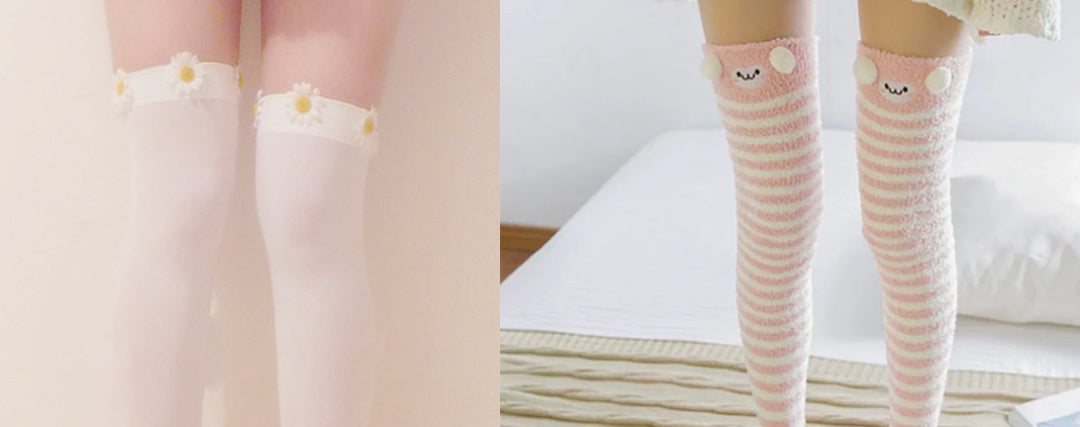 simple kawaii outfit Thigh High Socks