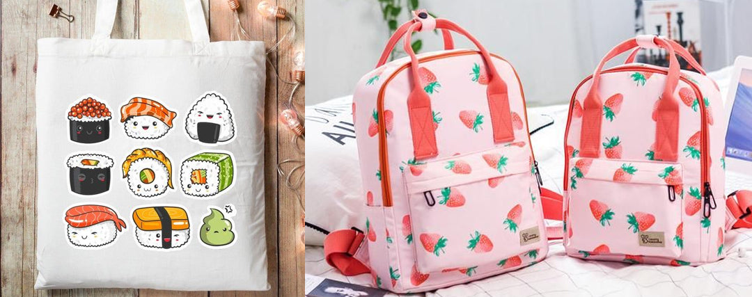 simple kawaii outfit Printed Bags