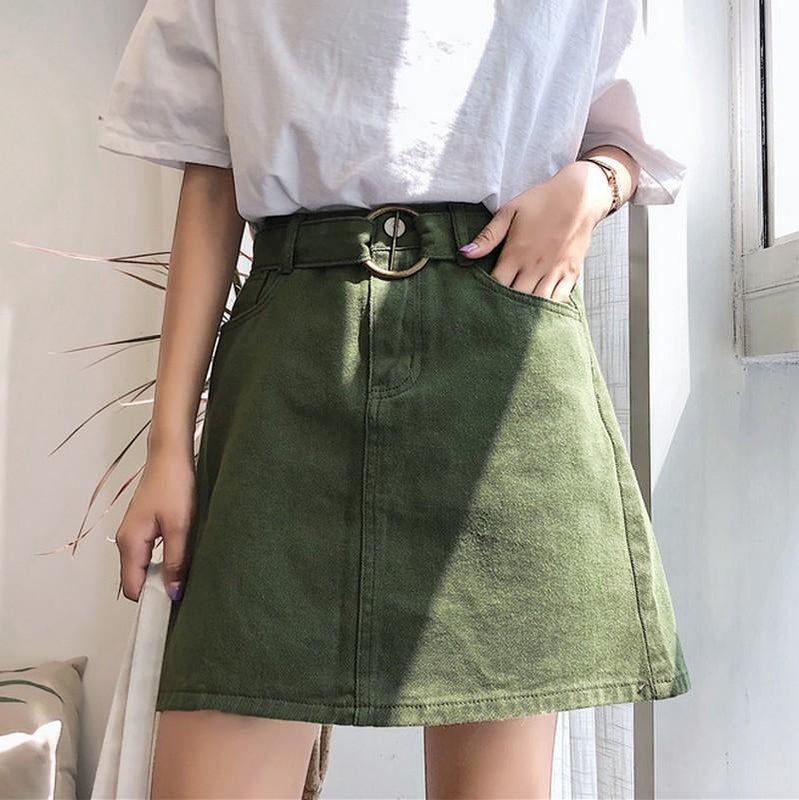 """Army Up"" Green Khaki Skirt"