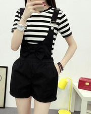 Cute Bow Tie Overall Shorts