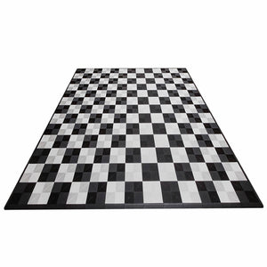 Single Car Pad with Edges (Black/White Checkered) - Flooring Mats and Turf
