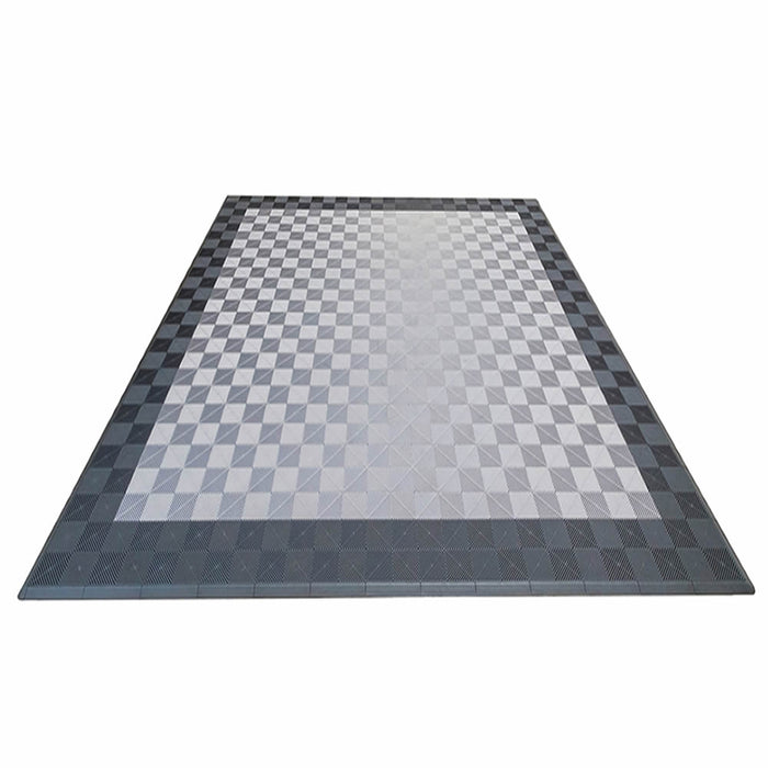 Double Car Pad with Edges (Slate Grey/Pearl Silver) - Flooring Mats and Turf