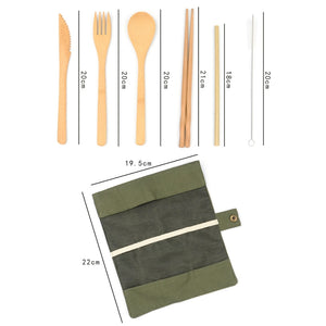 6 Pieces Bamboo Cutlery Set
