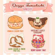 Load image into Gallery viewer, Doggo Tomodachi Bakery Glitter Sticker Pack (Pastries)